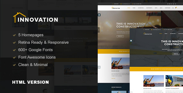 Innovation - Construction, Building HTML Template