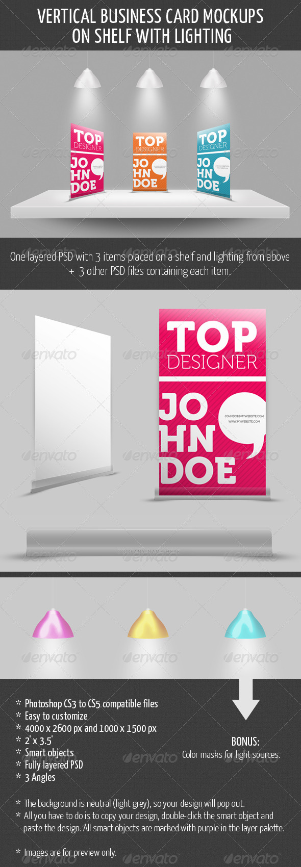 GraphicRiver Vertical Business Card Mockup on Shelf 1364031