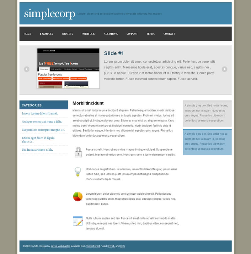 SimpleCorp - The template homepage contains a frontpage slider which uses jQuery together with the jFlow plugin. You can easily add slides by simply adding an extra <div>.