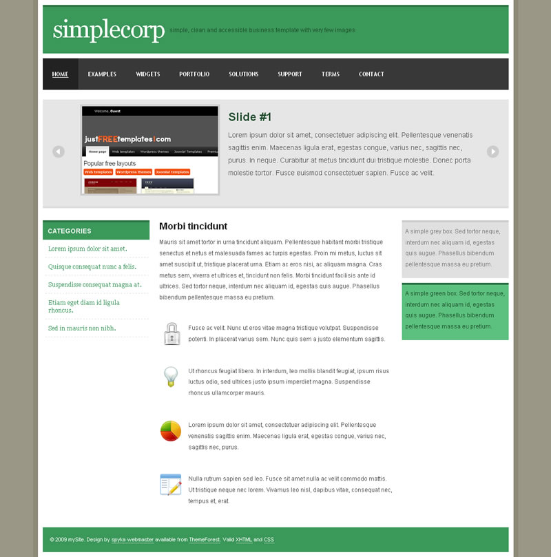 SimpleCorp - The Green version of the template