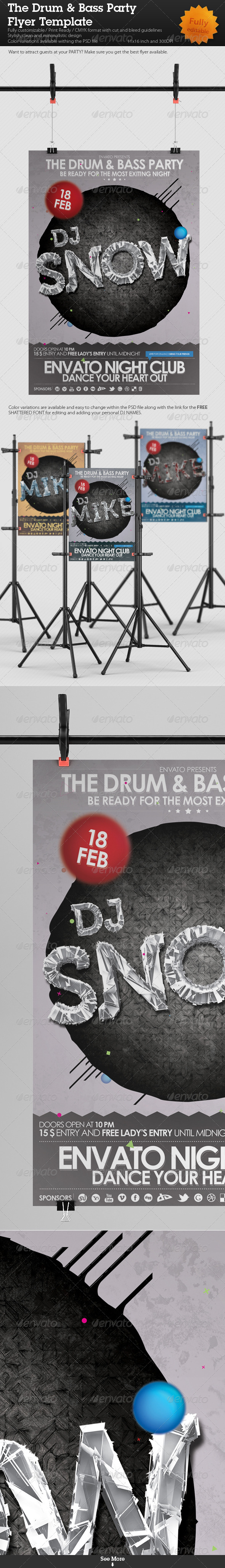 The Drum & Bass Party Flyer Template - Clubs & Parties Events