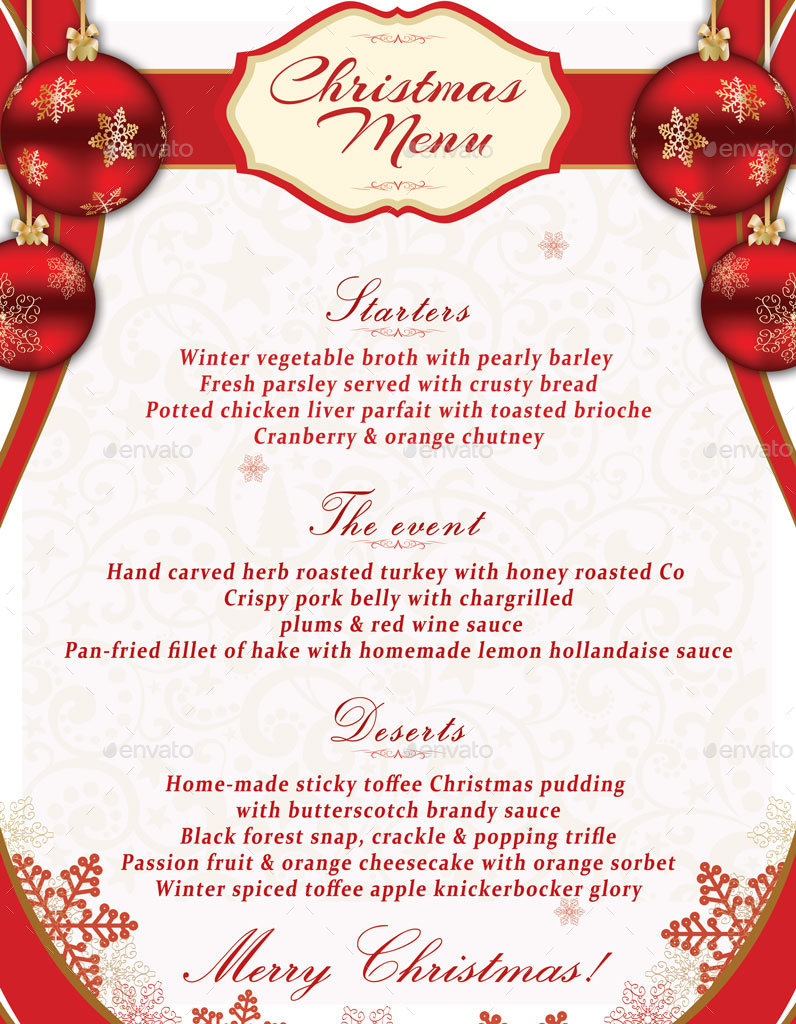 Christmas Menu Template by oloreon – Christmas Menu Word Template