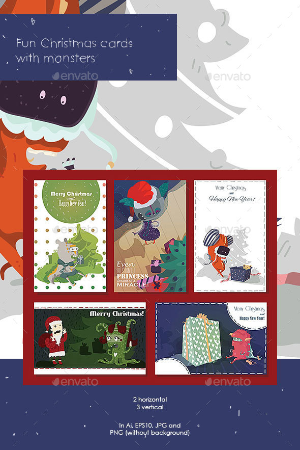 Monsters Christmas Cards