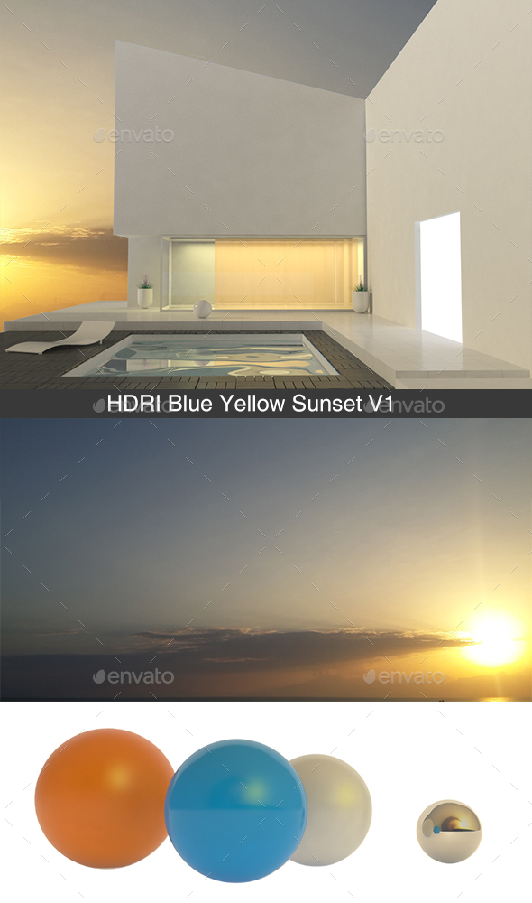 Blue Yellow Sunset V1 - 3DOcean Item for Sale
