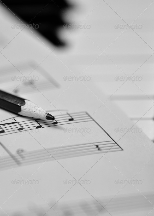 Music note and pencil - Stock Photo - Images