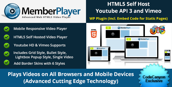 Html5 video player with grid style and lightbox popups for Html5 video player template