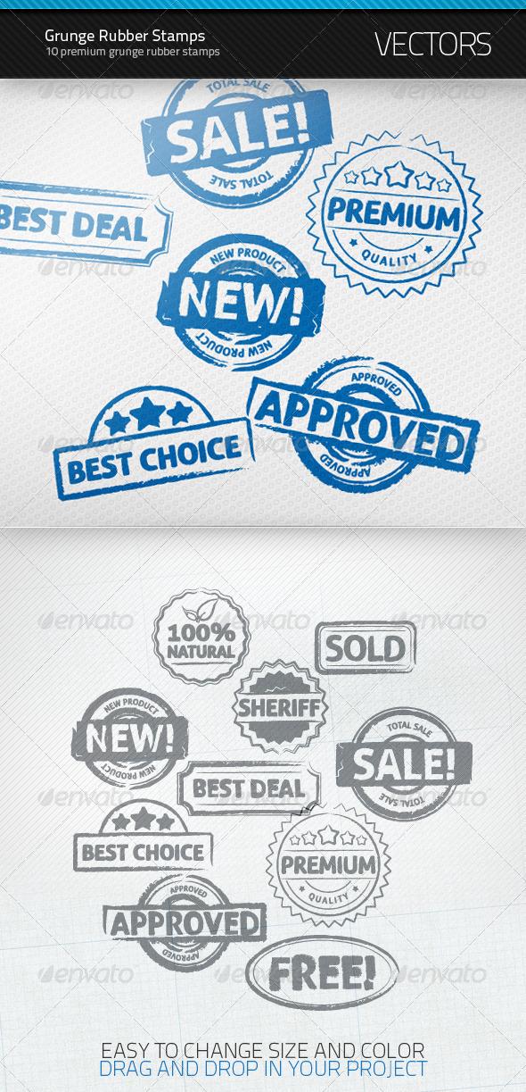 Grunge Rubber Stamps - Decorative Symbols Decorative
