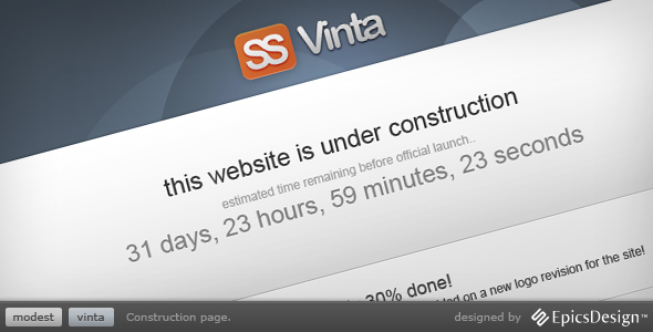 Vinta SS - Under Construction Page - Introducing Vinta SS, a simple solution for your site that isn't quite done yet.  Keep your users informed of what's going on even when your new site isn't quite completed yet.