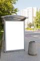 Blank billboard on bus stop - PhotoDune Item for Sale