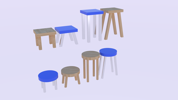 Low Poly Stool Pack - 3DOcean Item for Sale