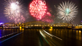 Firework over the Rhine river in Cologne