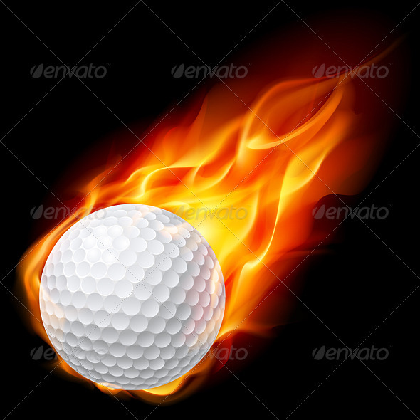 Golf ball on fire