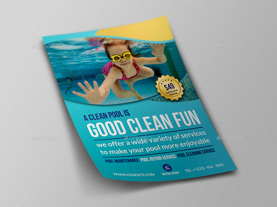 Swimming Pool Service Flyers : Swimming pool cleaning service flyer template by