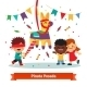 Children Celebrating Posada By Breaking Pinata
