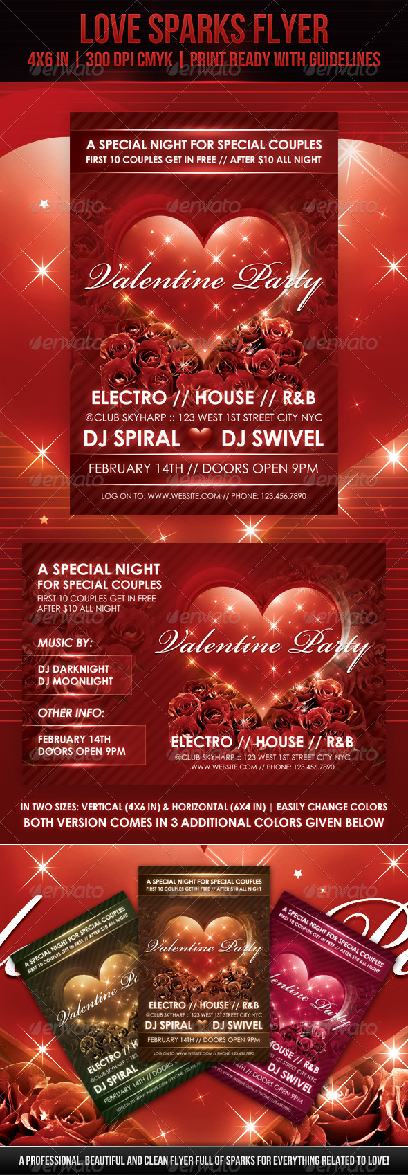 Love Sparks Valentine Flyer - Clubs & Parties Events