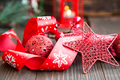 Red Christmas Decoration with Glitter Star,Lantern and Festive R