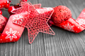 Red Christmas Decoration with Glitter Star and Festive Ribbon
