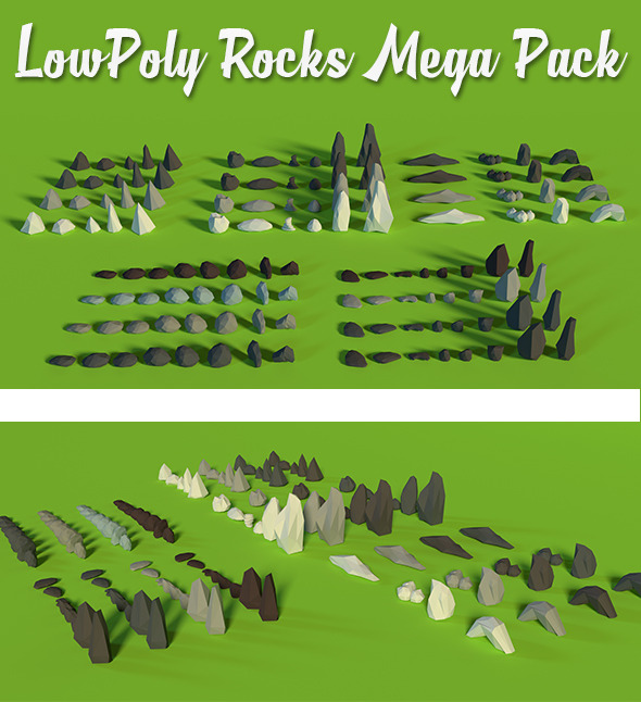 LowPoly Rocks MegaPack Bundle - 3DOcean Item for Sale
