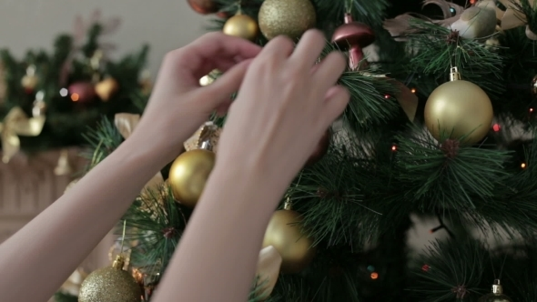 Beautiful Teenager Girl Decorating The Christmas
