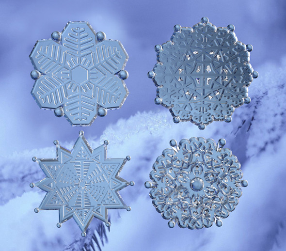 4 snowflakes - 3DOcean Item for Sale