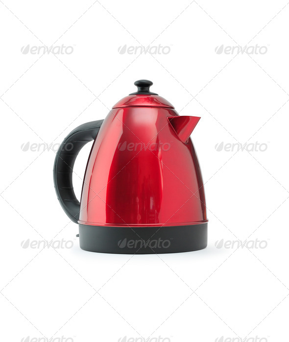 Red Electric Kettle - Stock Photo - Images