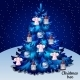 Blue Christmas Tree With Toys On a Starry Sky