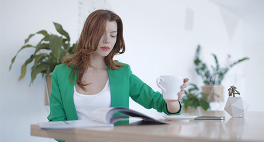 Attractive girl on cofee break in restaurant