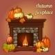 Autumn Decor Pumpkins and Fireplace