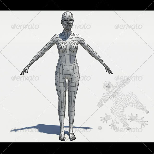 3DOcean Low poly girl mesh 163676