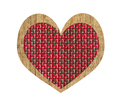 Vintage wooden and textile heart isolated on white