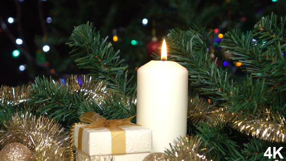 Christmas Candle And Gift