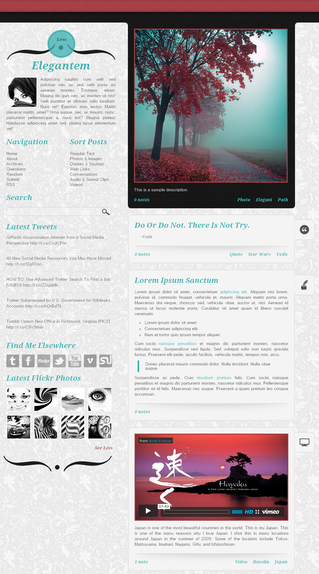 Elegantem - A demo home page showing three posts, and a standard sidebar with Flickr enabled.