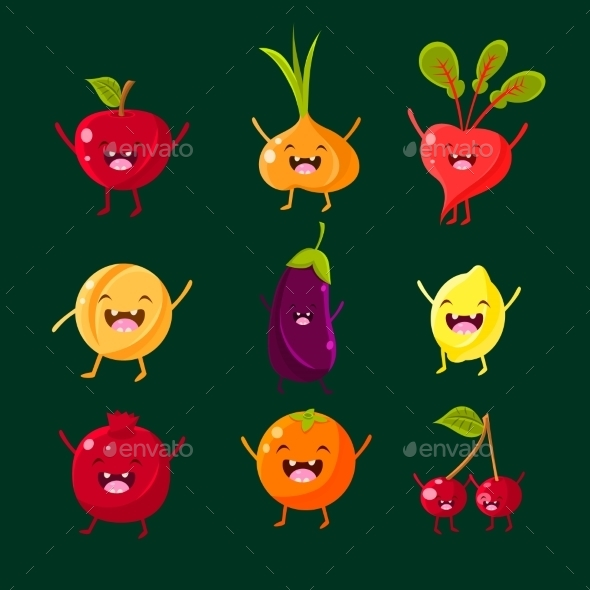 Cheerful Fruit And Vegetables. Food With Cute