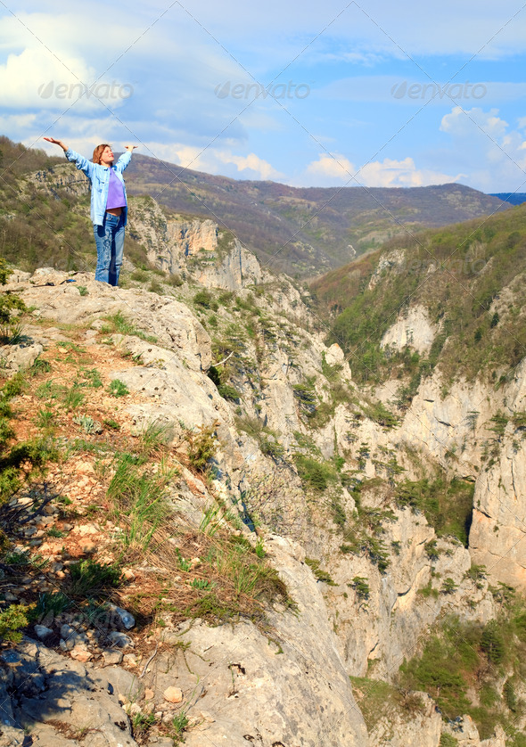 Spring Great Crimean Canyon landscape - Stock Photo - Images