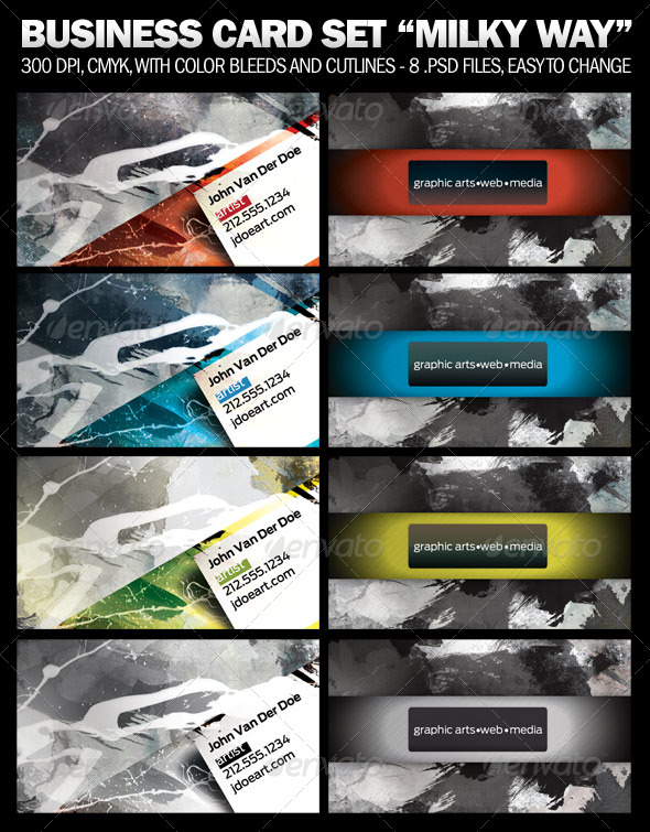 "4 Business Card Set ""Milky Way"" - Grunge Business Cards"