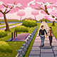 Couple Walking During Cherry Blossom