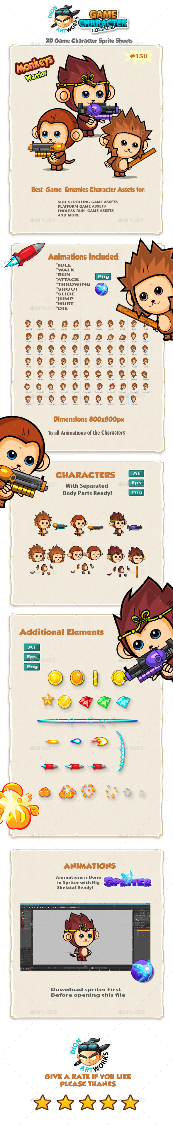 Cute Monkeys 2D Game Character Sprites 150 (Sprites)