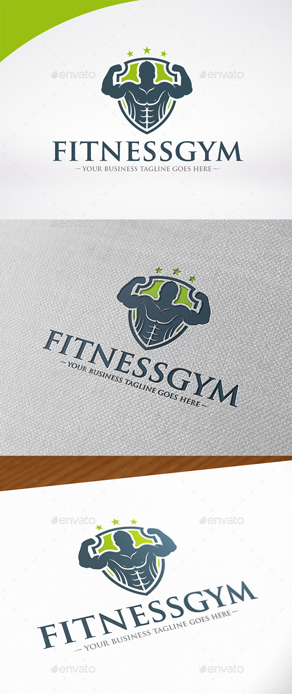 Fitness Gym Shield Logo