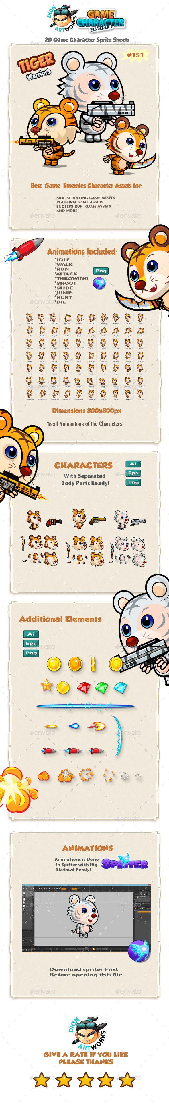 Tiger Warriors 2D Game Character Sprites 151 (Sprites)