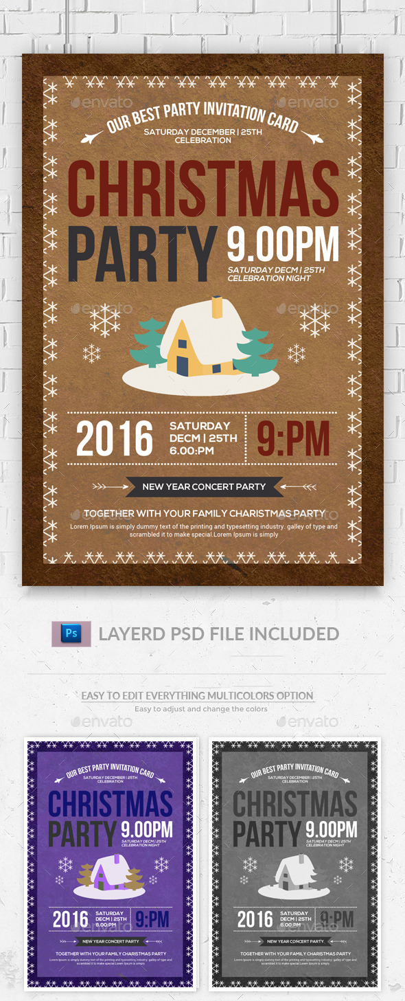 Christmas Party Flyer u0026 Invitation