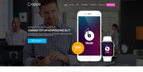 Appe - App Landing Page for Mobile & Watch