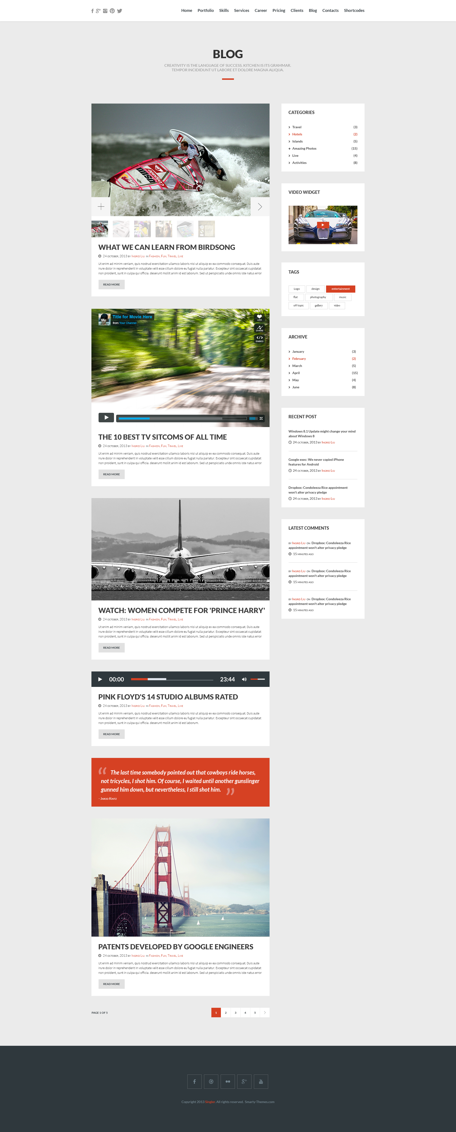 Google themes pink floyd - Bizzex Modern Flat Portfolio Theme