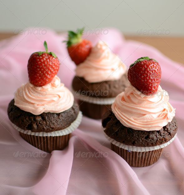 Strawberry Cupcake - Stock Photo - Images