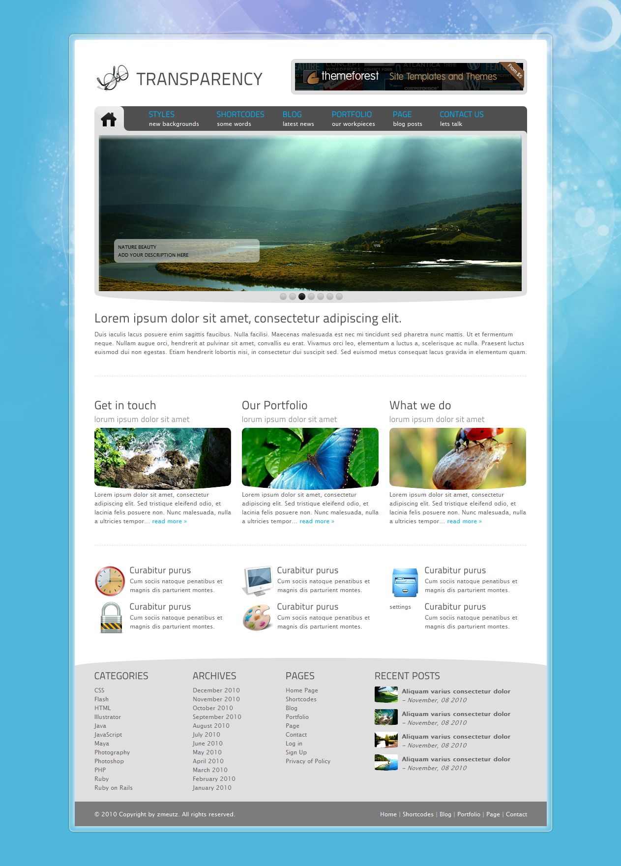 Tranzparency - Wordpress - Home page