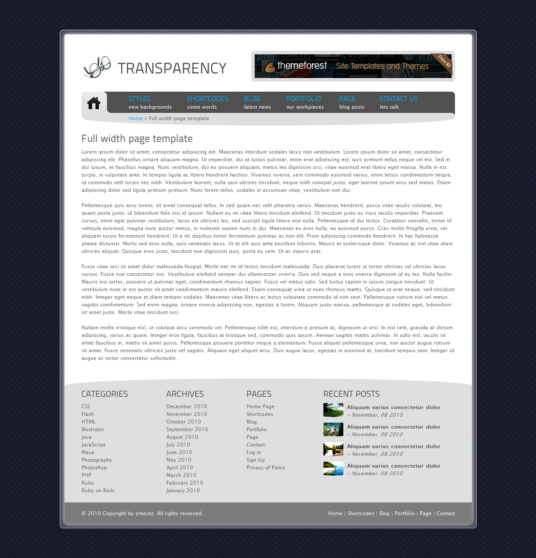 Tranzparency - Wordpress - Full width page template