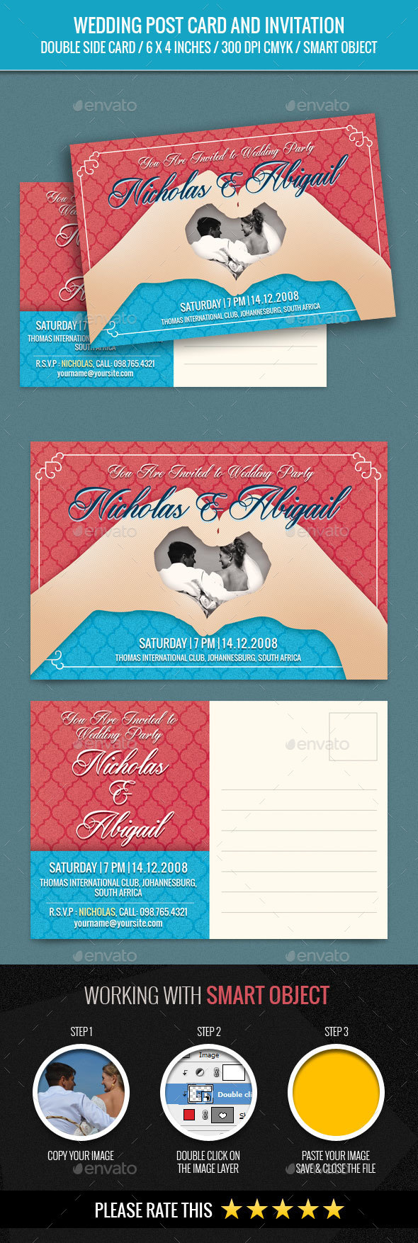 Wedding Invitation Post Card Template