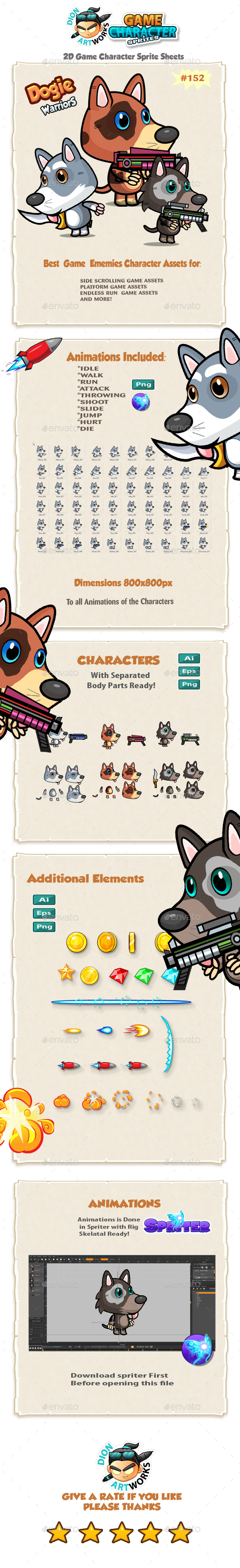 Cute Dogies 2D Game Character Sprites 152 (Sprites)