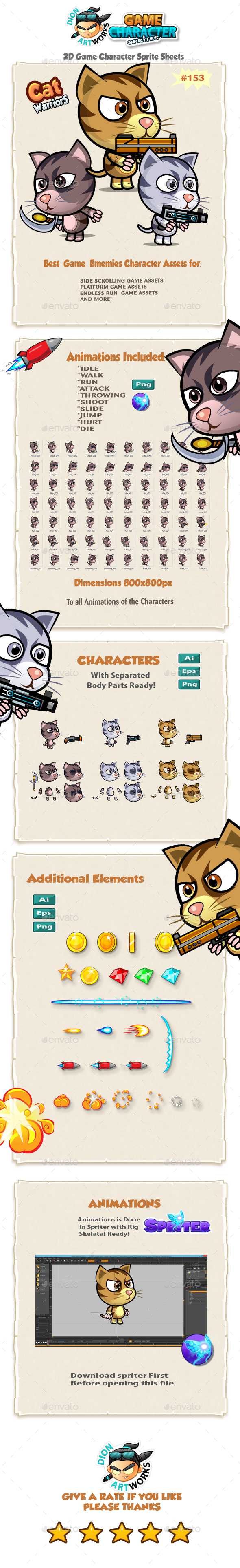 Cutie Cats 2D Game Character Sprites 153 (Sprites)