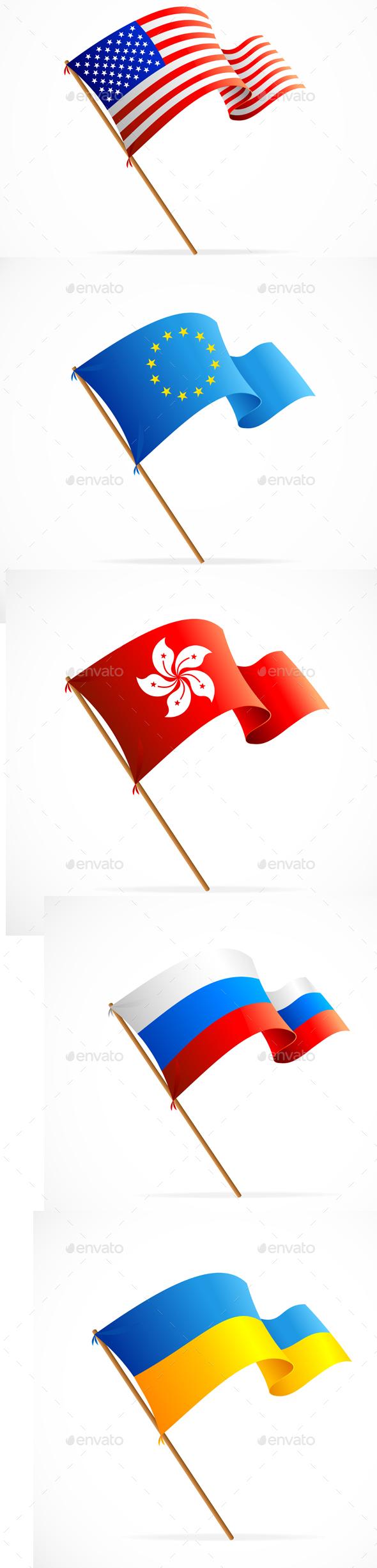 Waving Flag Set. Vector