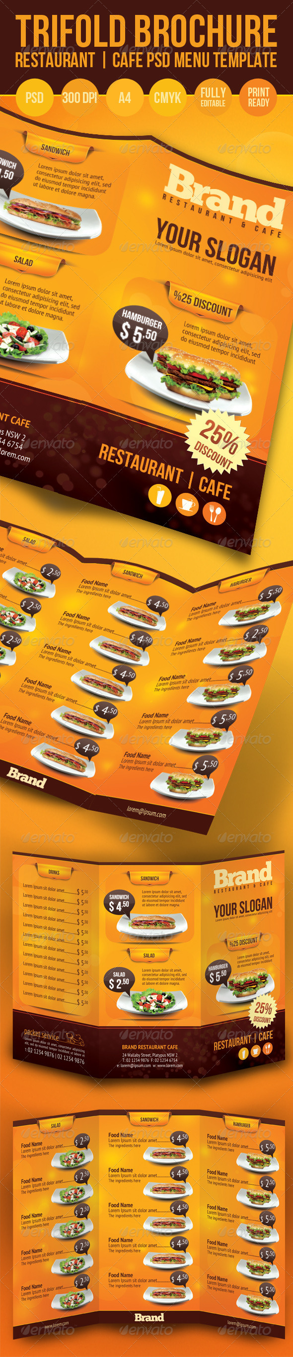 GraphicRiver Trifold Brochure Restaurant Cafe Menu PSD Template 1319270